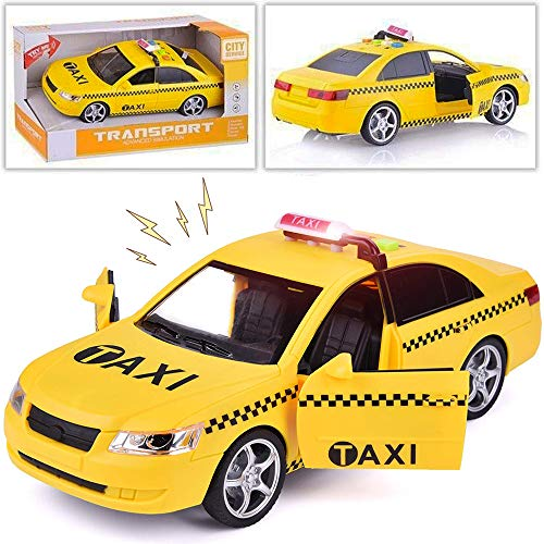 Liberty Imports Friction Powered Yellow Taxi Cab Toy Car Vehicle with Lights and Sounds (9.5-Inch)