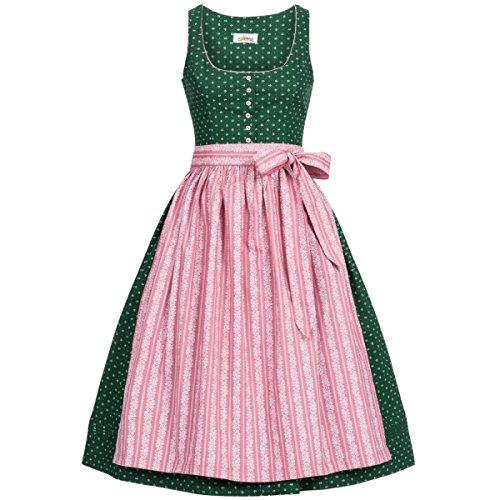 Almsach Damen Trachten-Mode Midi Dirndl Irmi in Dunkelgrün traditionell, Größe:48, Farbe:Dunkelgrün