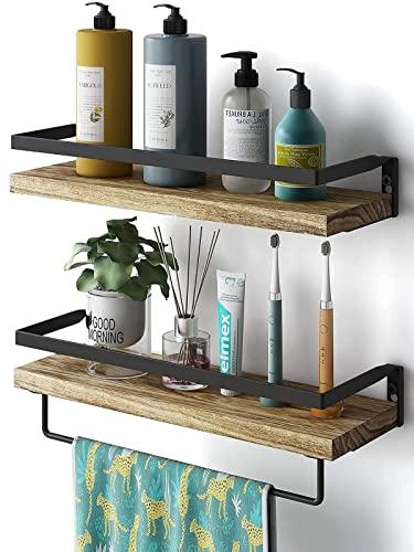 AMADA HOMEFURNISHING Floating Shelves Wall Mounted for Bathroom, Kitchen, Bedroom, Storage Shelf with Towel Holder, Rustic Wood Set of 2-AMFS01