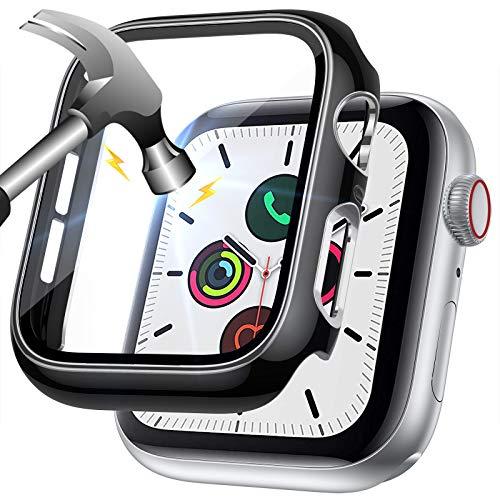LORDSON Pellicola Protettiva compatibile con Apple Watch Series 6 / SE / 5/4 44mm Cover, Copertura Completa Antigraffio Custodia Protettiva per PC Bicolore Proteggi Schermo in Vetro Temperato