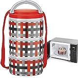 Milton Homery 4205 Lunchbox aus Edelstahl, isoliert, mikrowellengeeignet, 3 Ebenen 3 Ablagefächer Red Checker