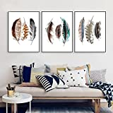 Impresión sobre lienzo de plumas de acuarela póster abstracto e impresiones minimalista arte de la pared cuadro decorativo para sala de estar arte sin marco - 40 x 60 cm