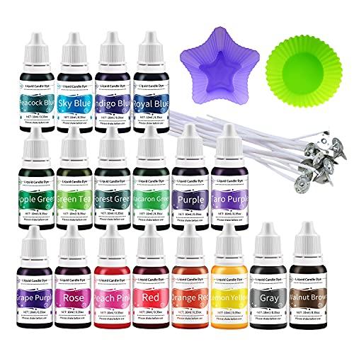Retazly Flüssige Kerzenfarbe, 18 Farben Soja Kerzenwachs Farbstoff für Kerzenherstellung, Wachsfarben Zubehör Mit 18 Dochte 2 Formen für...