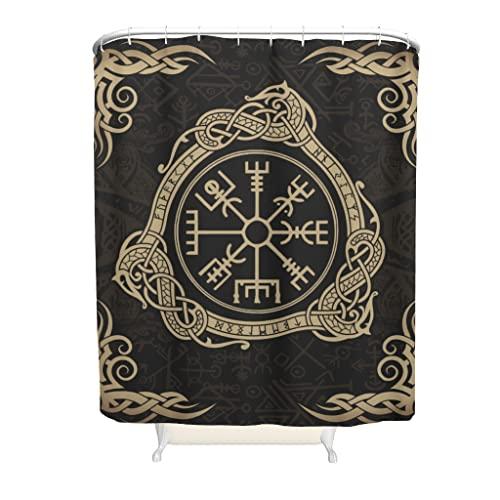 Wandlovers Cortinas de ducha de tela vikingas Vegvisir con estampado de runas escandinavas retro con hebillas de anillo de plástico, decoración interior blanca, 180 x 180 cm