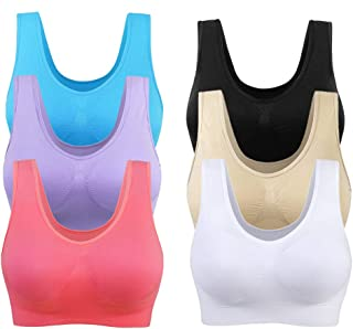 Cocobla 2/3/6 Pack Womens Wireless Racerback Sports Bra Yoga Tops Removable Pads Plus Size