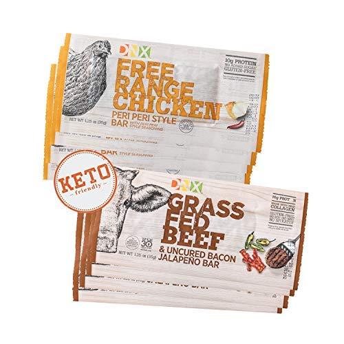 DNX Bar Free Range Chicken Peri Peri, Grass Fed Beef & Uncured Bacon Jalapeno Combo, Meat Snacks, Keto, Paleo, Whole30, Gluten-Free, Dairy-Free, Grain-free, Nitrate-Free, Non-GMO (8 Pk)