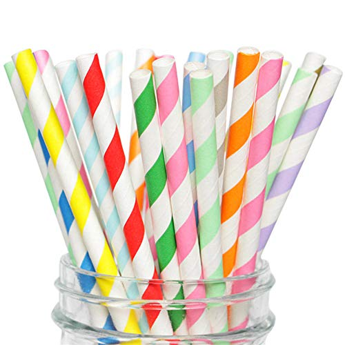 (40% OFF Coupon) Multicoloured Paper Party Straws Pack of 100 $3.59