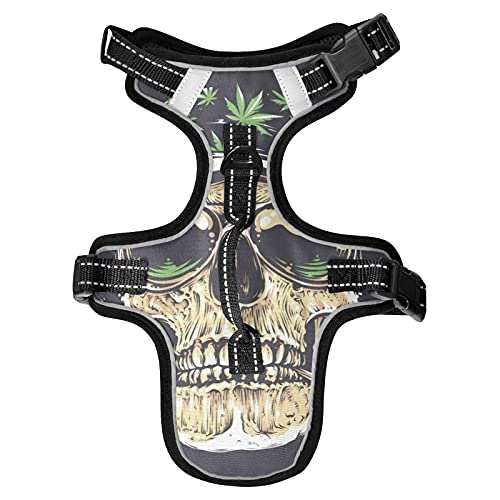 No Pull Dog Harness Skull Cannabis Leafs Dog Harness , Adjustable Tactical Dog Harness Reflective Oxford Soft Net Breathable Pet Vest for Small Medium Large Dogs.