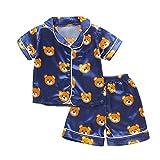 Conjuntos de Pijamas para niños pequeños, bebés, niños, niñas, Solapa, satén de Seda, Botones, Pijamas, Ropa de Dormir, 2 Piezas, Conjunto de Pijama (Navy Blue, 1-2 Years)