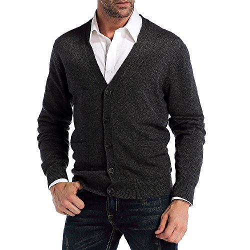 Kallspin Men's Relax Fit V-Neck Cardigan Cashmere Wool Blend Button Down with Pockets Charcoal