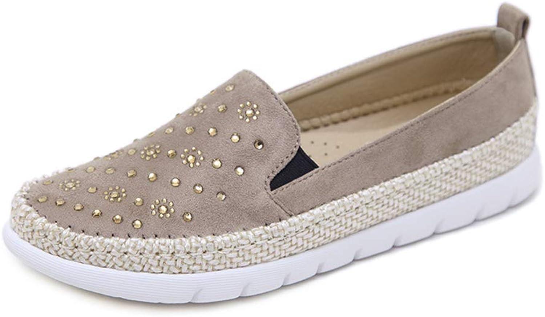 YHDEN Damen Damen Damen Mokassins Halbschuhe Casual Loafers Flatschuhe Wildleder Leder Low-Top Schuhe Erbsenschuhe Fahren,Khaki,EU40 UK7  42edb6
