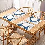 FloraGrantnan - Juego de 6 manteles individuales lavables y antideslizantes con letras A, color azul, con tela vaquera, diseño textil y puntos de sutura Ima, lavable fácil de limpiar