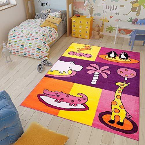 Tapiso Kinder New Alfombra Cuarto de Niños Sala de Juegos Estilo Moderno Violeta Naranja Blanco Animales Fina 140 x 190 cm