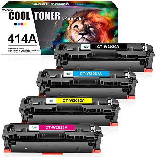Cool Toner Compatible Toner Cartridge Replacement for HP 414A 414X W2020A HP Color Laserjet Pro MFP M479fdw M454dw M454dn M479fdn Printer W2021A W2022A W2023A Ink (Black Cyan Magenta Yellow, 4-Pack)