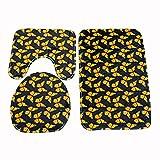 FGHJSF Alfombra de baño de 3 Piezas Mariposa Amarilla Impresión 3D Alfombrillas de baño Set Alfombra de baño de Secado rápido, Alfombra de Contorno en Forma de U y Asiento de Inodoro