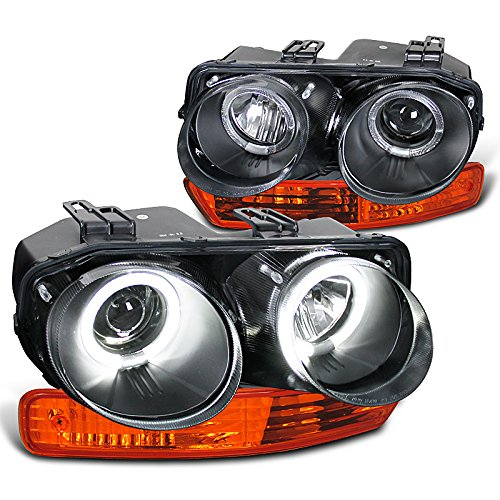 Spec-D Tuning for Acura Integra Black Halo Projector Headlights, Amber Bumper Lights
