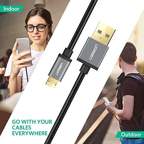 UGREEN Micro USB Kabel Ladekabel Micro USB 2.0 Schnellladekabel Nylon kompatibel mit Samsung Galaxy S7 S6 Edge A10 A7 A5 A3 J7, Huawei P10 Lite, P40 Lite E, Moto Edge, PS4 Controller (1m, Schwarz)