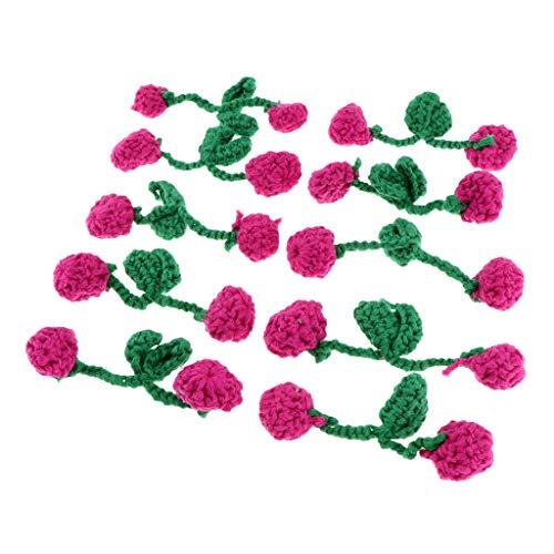 freneci 10 Stück Gestrickte Häkelkirschblüten Applikationen Scrapbooking Verzierungen - Rose Rot, 4 cm