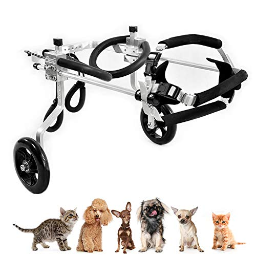 Small Dog Cat Wheelchair for Back Legs, Adjustable Full Support Cart, Hind Legs Rehabilitation for Handicapped Puppy Paralyzed Doggo Injured Rabbit, Life Changing for Mobility Challenged Pets