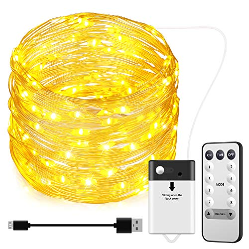 AMIR Fairy String Lights, 32.81ft 100 Led Starry Lights with Remote Control, 8 Modes Battery Operated Decorative Lights for Outdoor Bedroom Garden Wedding Christmas (Warm White + White)