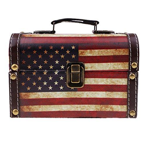 IPOTCH Caja Retra de Madera de Almacenamiento de Cosméticos Joyerías de Mesa Ornamento Artesanal para Hogar - Bandera de Estados Unidos