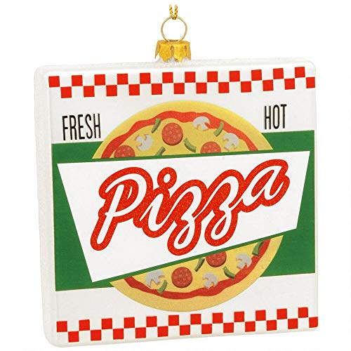 On Holiday Blown Glass Pizza Box Christmas Tree Ornament
