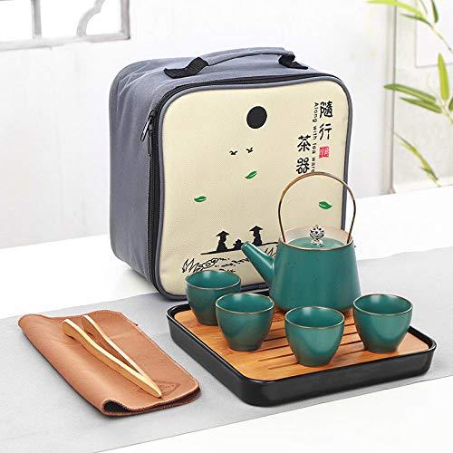 Juego de té de cerámica, Maceta Hecha a Mano, Cuatro Tazas, Juego de té de Viaje Kung Fu, personalización de Olla Japonesa portátil-Una Olla y Cuatro Tazas de Vigas de cerámica Verde.