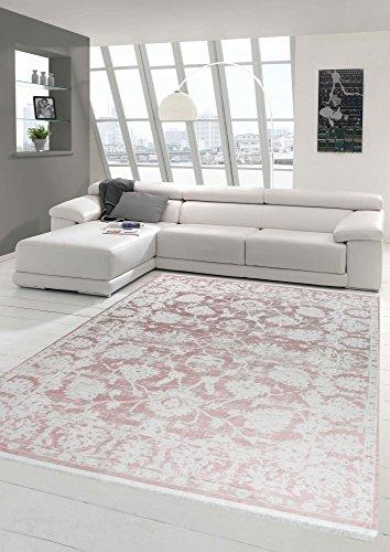 Merinos Vintage Teppich modern Wohnzimmerteppich Designteppich mit Fransen in Rosa Größe 120x170 cm