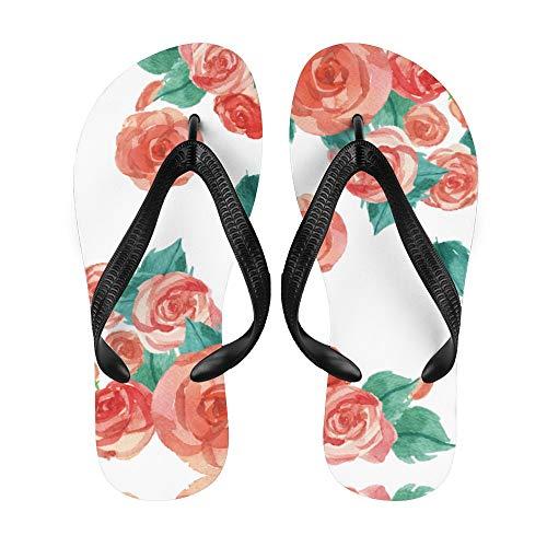 Flor Flip-Flop Playa Verano Zapatillas Personalizadas Casa Zapatos Sandalias para Mujeres Hombres Vintage Acuarela Hojas Rojo Rosa, color Blanco, talla Small