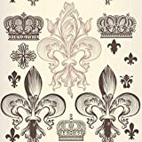 Uoopati DIY 5D Diamond Painting by Number Kit, Heraldic Wallpaper Pattern with Fleur De Lis and Crowns Vector Crystal Rhinestone Paintings Cross Stitch Home Wall Decor, 12x12 Inch