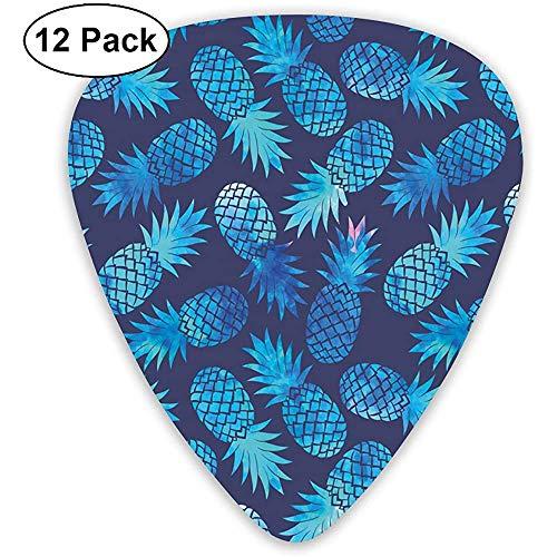 Figuras modernas de piña patrón de fruta exótica en acuarela digital ilustración noche azul turquesa (paquete de 12)