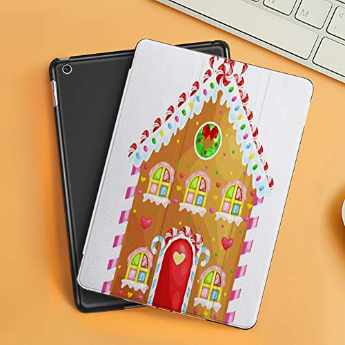 Case for iPad Air 10.2(2019/2018),Brown Gingerbread House Decorated Candy Icing Sugarchristmas Food Drink Holidays Cake Col,Cover with Auto Sleep Wake Feature, Slim Lightweight Stand Protective Case