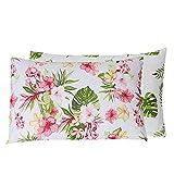 Nimsay Home Tropicana - Juego de fundas de almohada reversibles (100% algodón, 50 x 75 cm + 15 cm), diseño floral