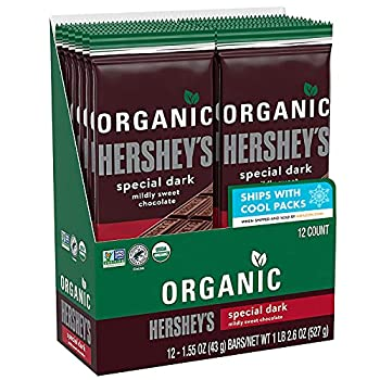 HERSHEY S SPECIAL DARK Mildly Sweet Organic Dark Chocolate Candy Individually Wrapped 1.55 oz Bars  12 Count