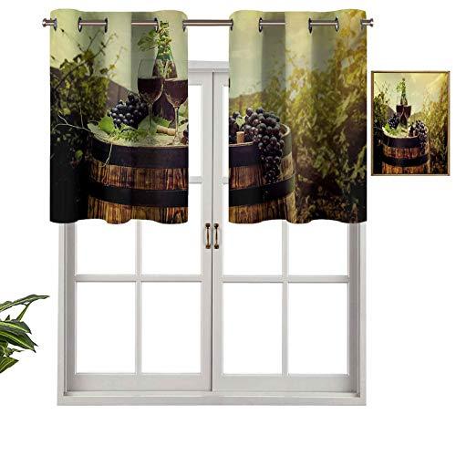 Mantovana oscurante, con mantovana e mantovana panoramica in stile paesaggio toscano, coppia di bicchieri e uva matura, set di 1, 137,2 x 45,7 cm, per soggiorno, mantovana corta e dritta