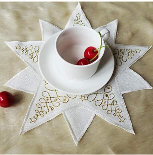 2 Piezas de Tela Blanca Bordada Dorada Octogonal Posavasos Antideslizante Mesa de Comedor Copa de Vino Estera de Cocina Hotel Boda 30cm