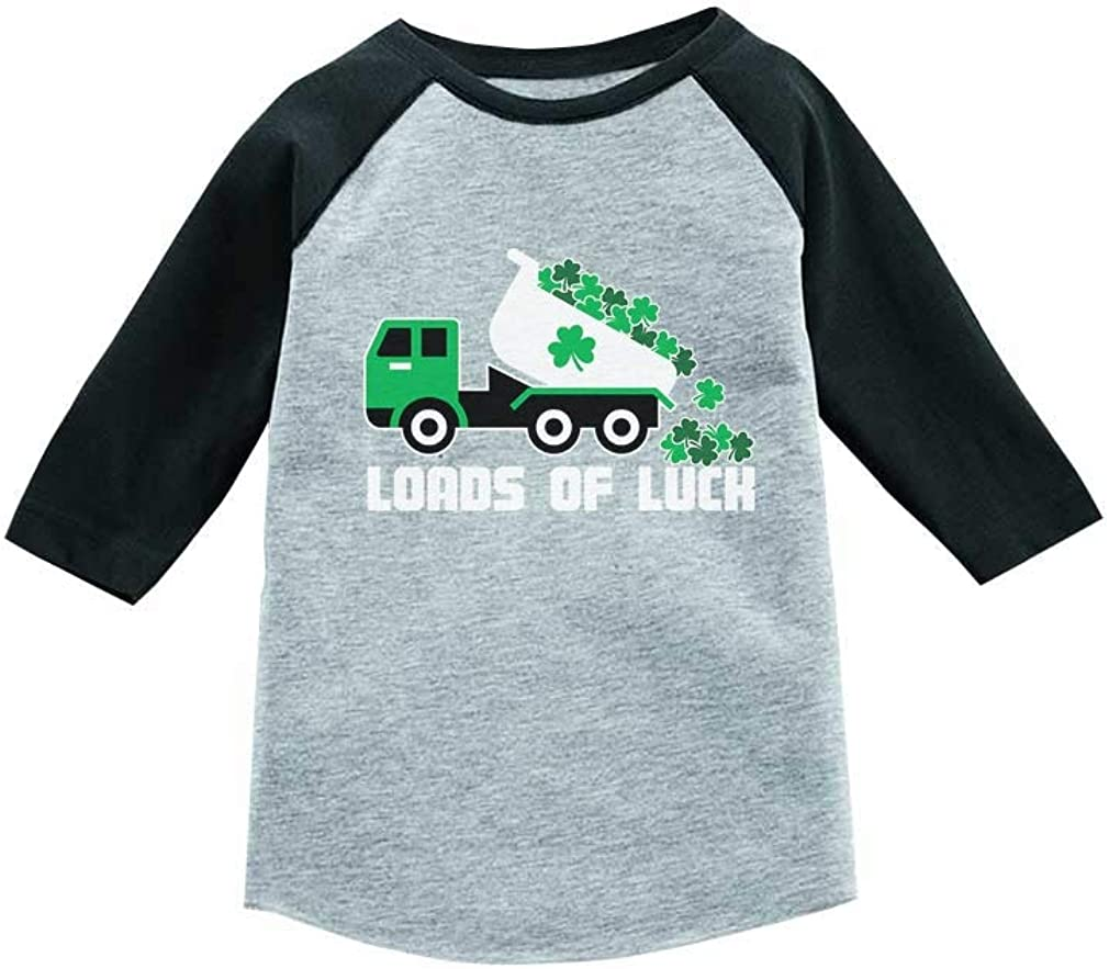 Tstars Loads of Luck St. Patrick's Day Tractor 3/4 Sleeve Baseball Jersey Toddler Shirt