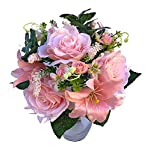 2 bundles assorted artificial silk flower bouquet rose & lily for wedding party & home decoration