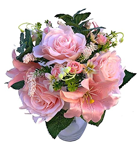 2 Bundles Assorted Artificial Silk Flower Bouquet Rose & Lily for Wedding Party & Home Decoration Silk Flower Arrangements