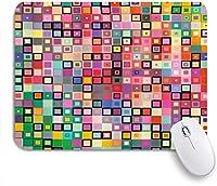 VAMIX マウスパッド 個性的 おしゃれ 柔軟 かわいい ゴム製裏面 ゲーミングマウスパッド PC ノートパソコン オフィス用 デスクマット 滑り止め 耐久性が良い おもしろいパターン (カラフルなデザインのようなモダンなレインボー、幾何学的なディテールの正方形、ドット付きのイメージ印刷)