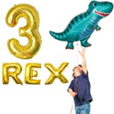 OMG Party Factory - Dinosaur Balloons Mylar Foil Birthday Party Decorations Party Ballon Supplies 3rd Bday (3 REX)