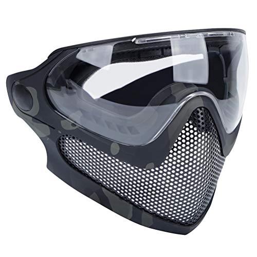 Abaodam Máscara de combate de doble modo para exteriores, máscara de acero para hombre, mujer, color negro y camuflaje.