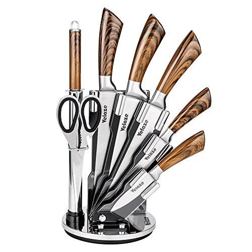 Velaze Küchenmesser Set, Profil Messerset 8-teilig, Messerblock mit Messer Set aus hochwertigem Edelstahl, Kochmesser Fleischmesser Brotmesser Küchenschere Wetzstahl, Extra Scharf & Rostfrei