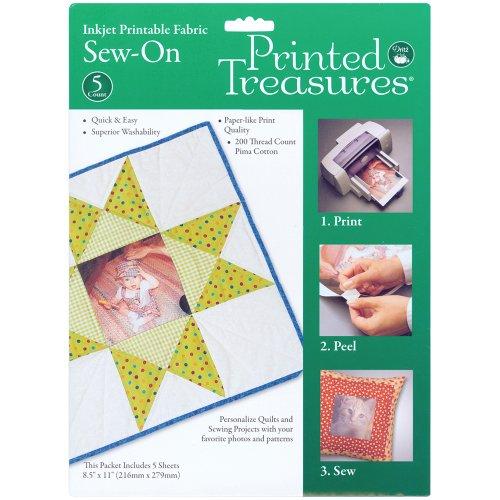 Printed Treasures Inkjet Printable Fabric, Sew-On, 5 sheets