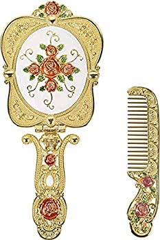 Nerien Antique Mirror Comb Set Vintage Metal Handheld Makeup Mirror with a Comb Russian Style Embossed Rose Hand Mirror Travel Portable Foldable Mirror Decorative Tabletop Stand Mirror Gold-1