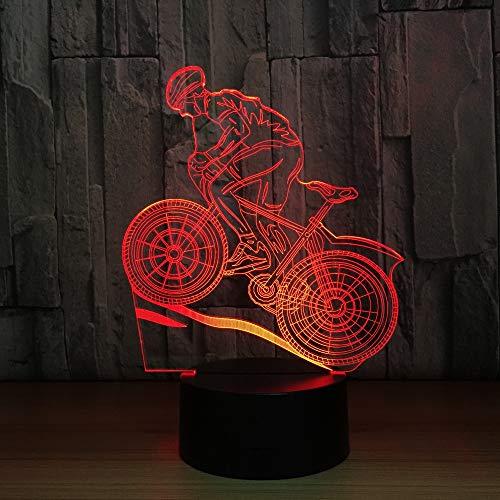 Jiushixw 3D acryl nachtlampje met afstandsbediening van kleur veranderende tafellamp mountainbike ridder sport fan geven vriend kind cadeau melkglas tafellamp mode