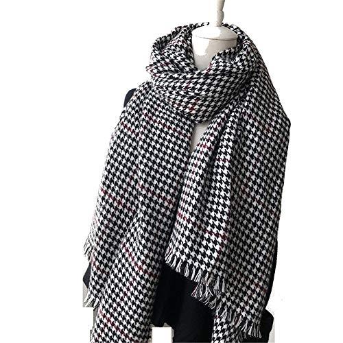 Damen Warmer Schal Herbst und Winter Hahnentrittkragen Schal Kaschmir dicken Schal weiblichen Schal, schwarz und weiß rot