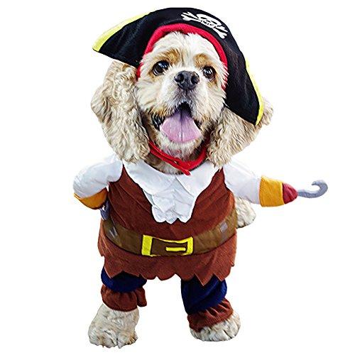 LPATTERN Hundekostüm Pirat Kleid Haustier Katze Hund Kleidung Anzug Kostüm mit Hut Gr. S-XL