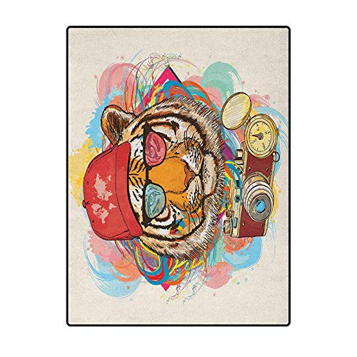Animal Geometric Pattern Rug Best Long Carpet for Bedroom Floor Hipster Rapper Tiger with Sunglasses Hat and Camera Artist Hippie Animal Comic Print Multicolor 2 x 3 Ft