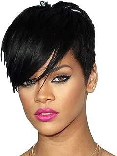 Short Straight Wigs Pixie Cut Hair Choppy Bangs for Black Women Heat Resistant Synthetic Full Black Crop Wigs